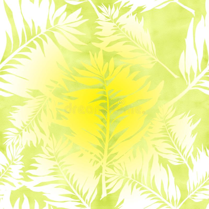 Leaves. Decorative composition on a watercolor background. Floral motifs. Seamless pattern. Use printed materials, signs, items, websites, maps, posters vector illustration
