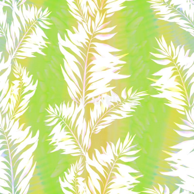 Leaves. Decorative composition on a watercolor background. Floral motifs. Seamless pattern. Use printed materials, signs, items, websites, maps, posters stock illustration