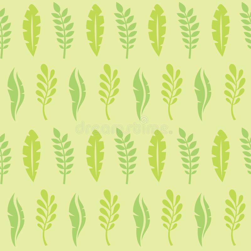 Leaves of exotic plants - creative vector illustration. Floral seamless pattern. Abstract concept background. Tropical summer. Nature. Graphic design element royalty free illustration