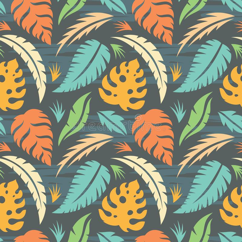 Leaves of exotic plants - creative vector illustration. Floral seamless pattern. Abstract concept background. Tropical summer royalty free illustration