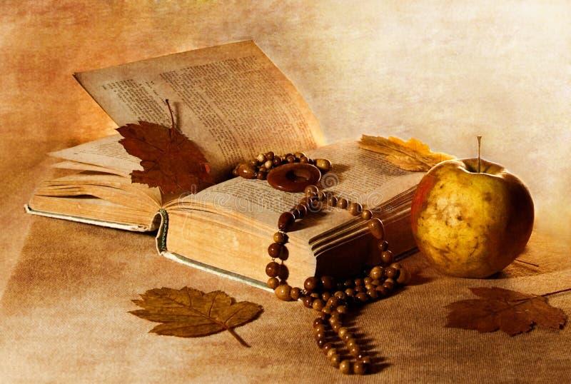 leaves för tyg för äpplepärlbok arkivbilder