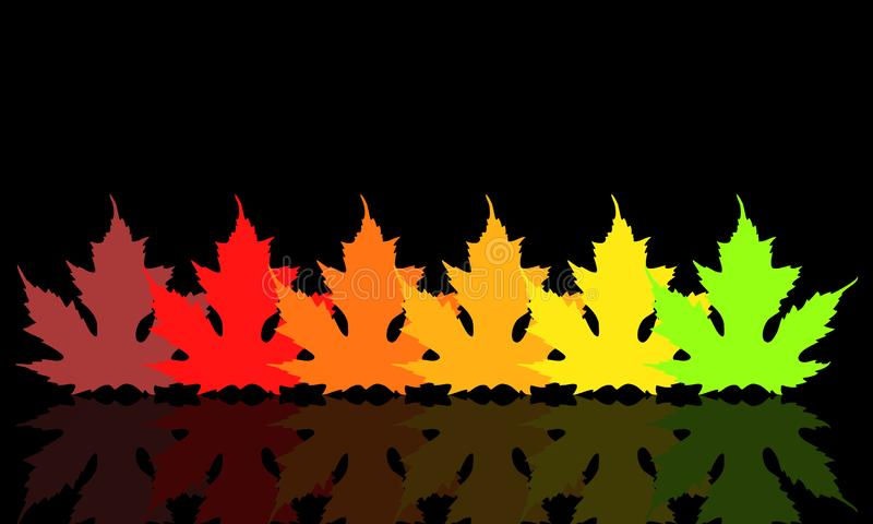 Leaves with fall colors on dark background.  stock illustration