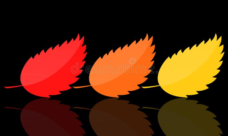 Leaves with fall colors on dark background.  royalty free illustration
