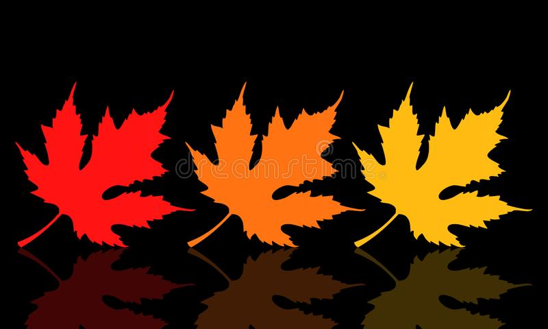 Leaves with fall colors on dark background.  vector illustration