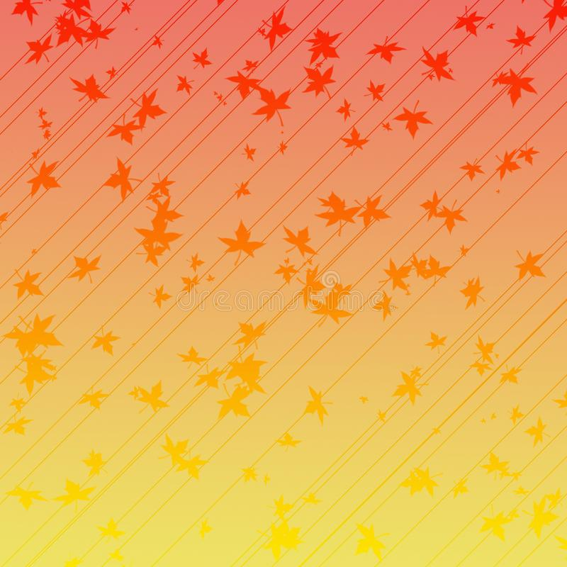 Leaves fall on gradient background. Different size leaves fall on gradient red and yellow background with lines stock illustration