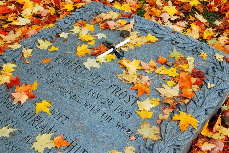 Robert Frost Grave, Bennington, Vermont. Leaves fall on poet Robert Frost`s grave in Bennington, Vermont royalty free stock photo
