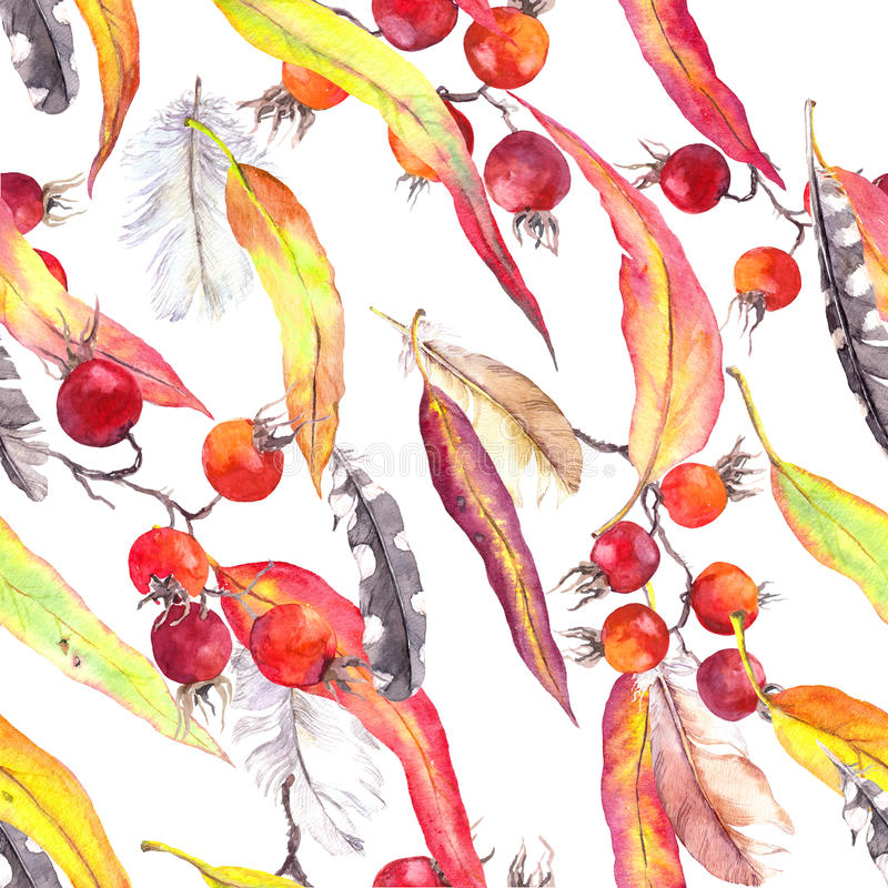 Leaves, feathers, berries. Seamless boho pattern. Vintage watercolor. Leaves, feathers, berries. Seamless autumn pattern. Watercolor in vintage boho style royalty free stock photo