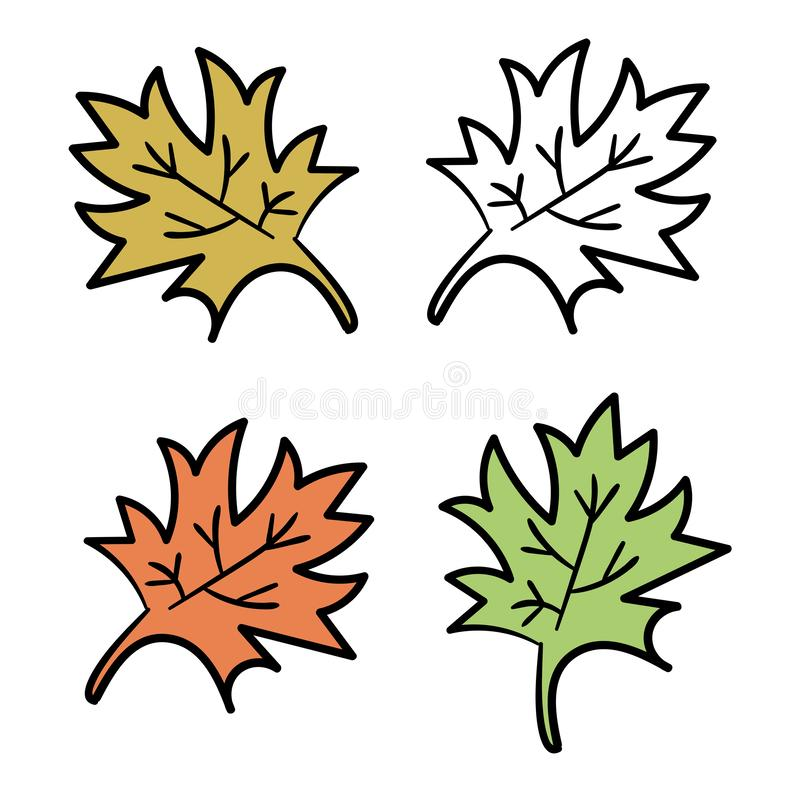 Floral set of colorful cartoon doodle elements, leaves, petals isolated on white. stock illustration