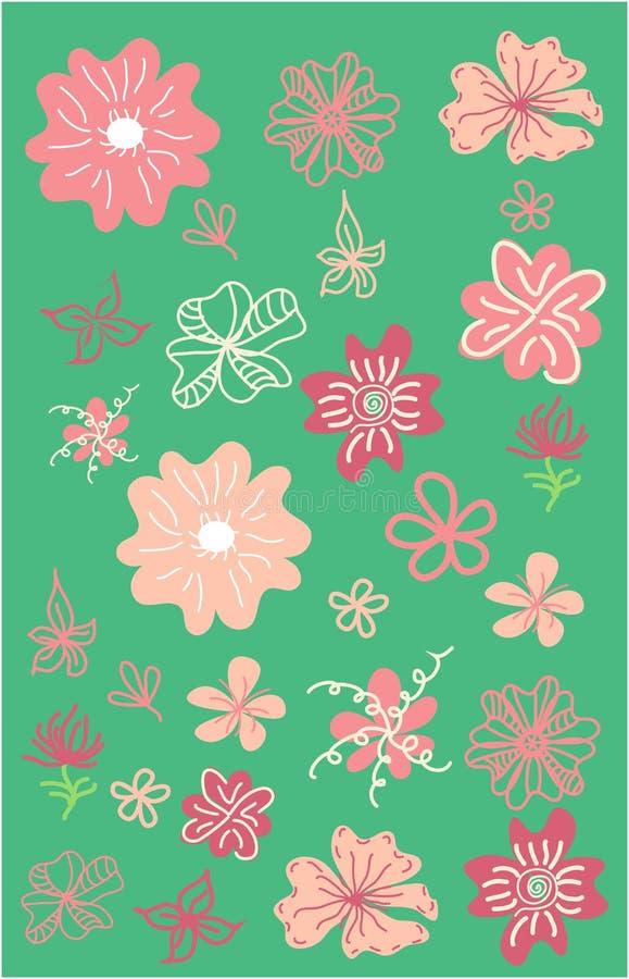 Leaves, flovers, bushes and hedges set. Hand drawn floral elements stock illustration
