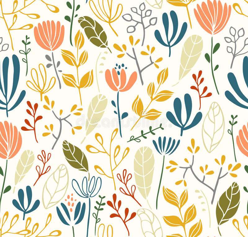 Leaves and flowers seamless pattern stock illustration