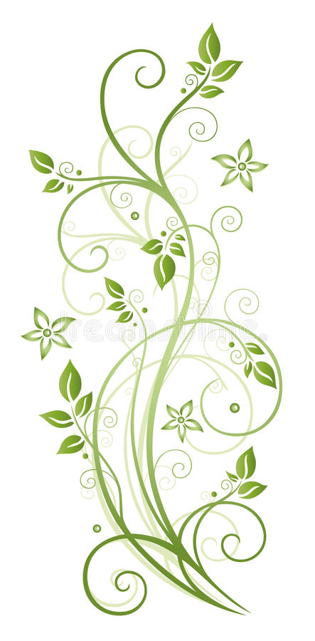 Leaves, flowers, spring. Colorful leaves and flowers, green tendril, spring