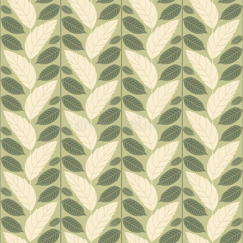 Leaves. On a green background in seamless pattern stock illustration