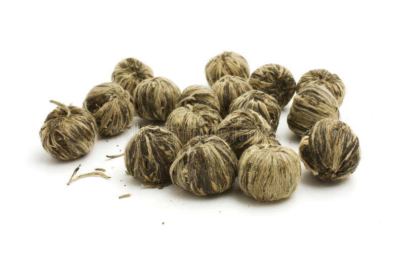 The leaves of green tea braided in balls royalty free stock photos