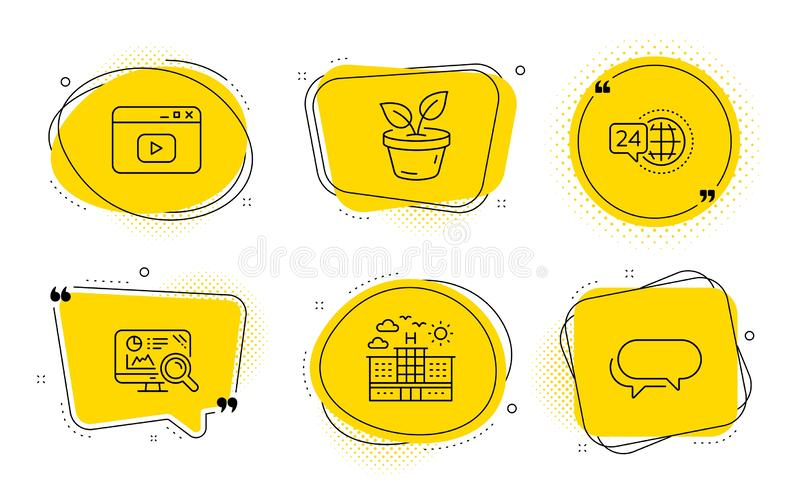 Seo analytics, Video content and 24h service icons set. Leaves, Hotel and Messenger signs. Vector royalty free illustration