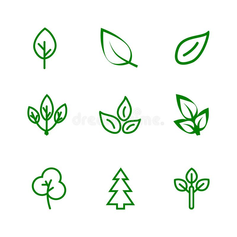 Leaves icon set. Various shapes of green leaves of trees and plants. royalty free illustration