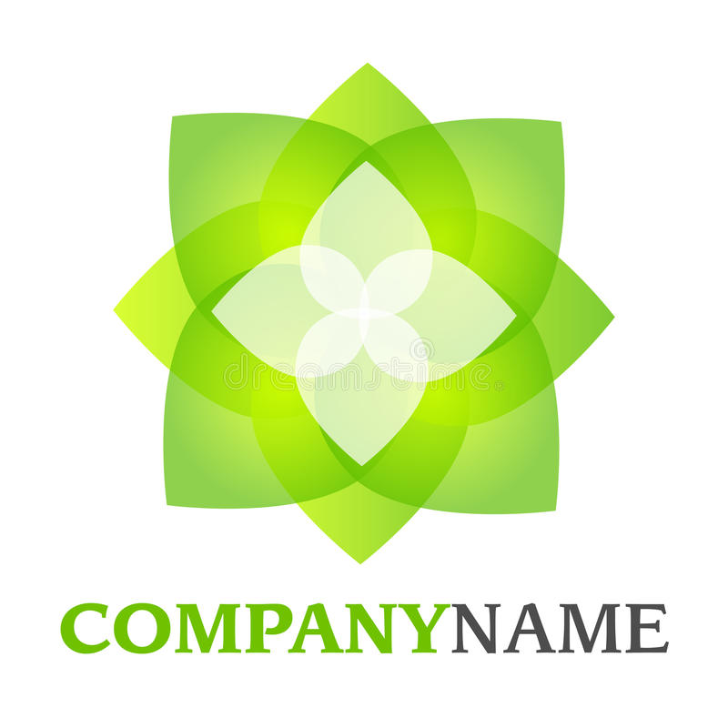Leaves logo. Isolated vector company logo with green white blossom leaf flower icon on white background