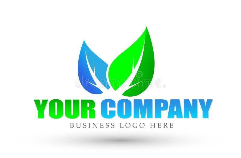 Leaves logo, natural health, leaf botany, ecology, symbol and icon for company on white background royalty free illustration