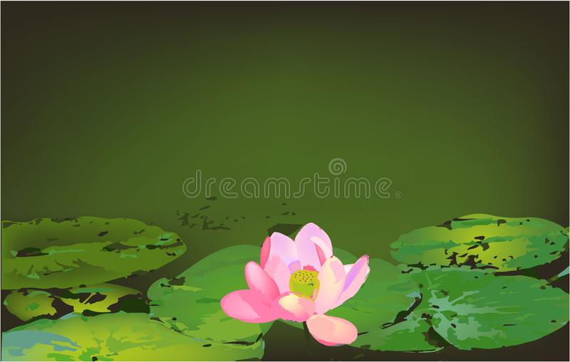 Leaves and lotus on the water banner stock illustration