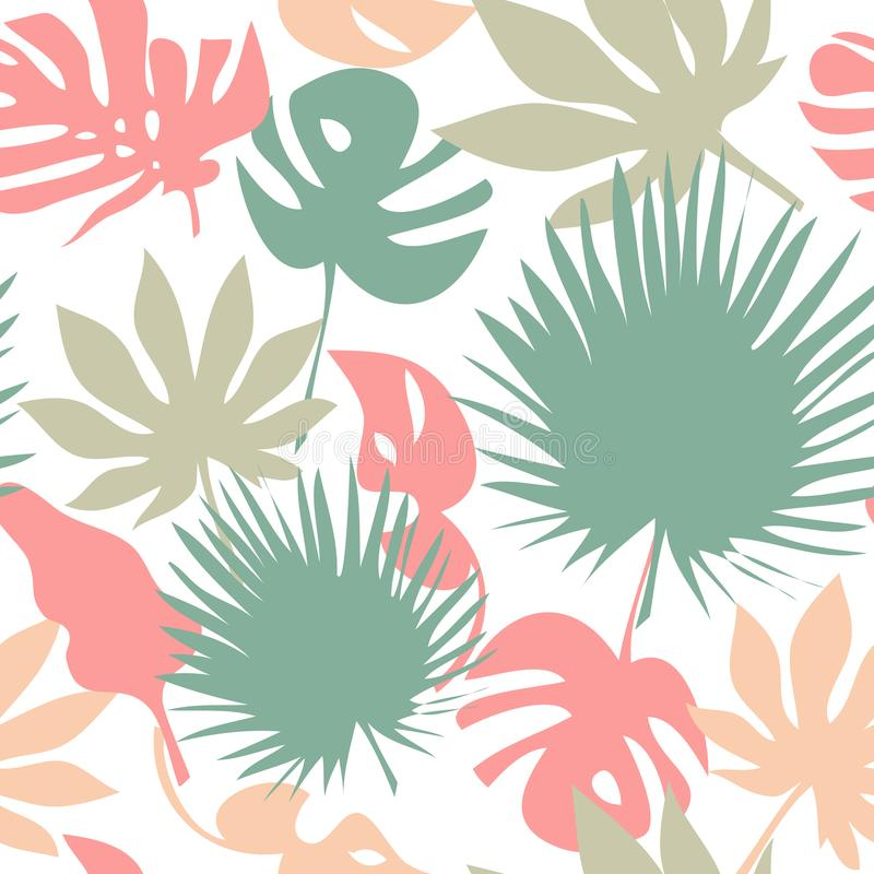 leaves mönsan seamless tropiskt royaltyfri illustrationer