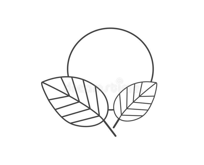 Leaves och sun Naturen undertecknar in svartvitt Plan designsymbol stock illustrationer