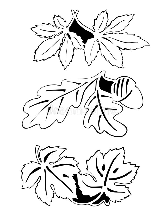 Download Leaves in pair - outline stock vector. Image of artwork - 7321562