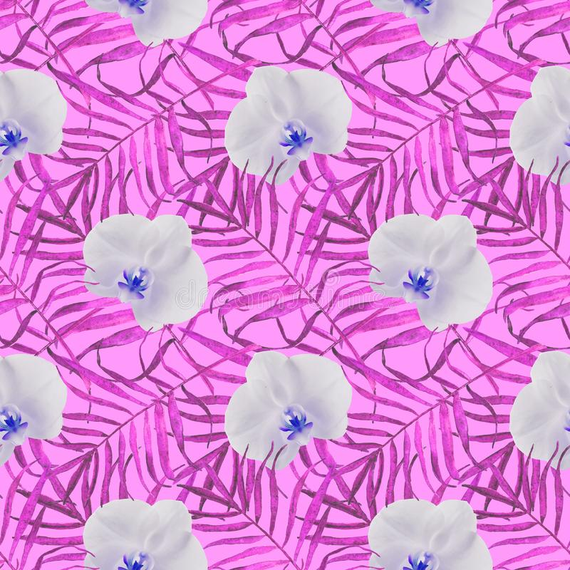Leaves palm trees with orchid seamless pattern pink vector illustration