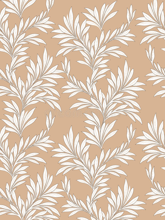Leaves pattern. Leaf seamless backgound. Leaves seamless pattern. Floral vintage background in victorian style. Floral tiled border. Flourish ornament. Plant stock illustration