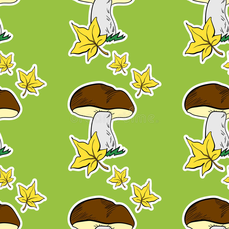 Leaves Pattern. Pattern made from hand drawn mushrooms and leaves vector illustration