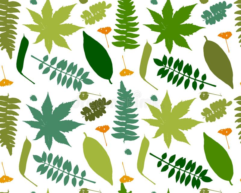 Leaves and plants, seamless pattern for your design royalty free illustration