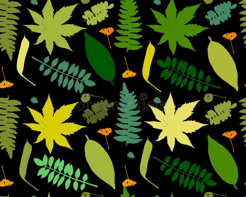 Leaves and plants, seamless pattern for your design vector illustration