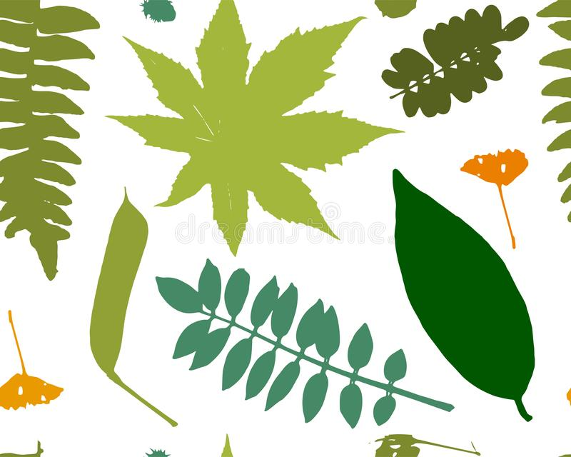 Leaves and plants, seamless pattern for your design stock illustration