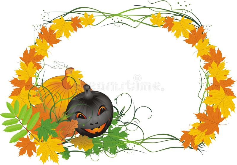 Leaves and pumpkin. Halloween. Card royalty free stock photos