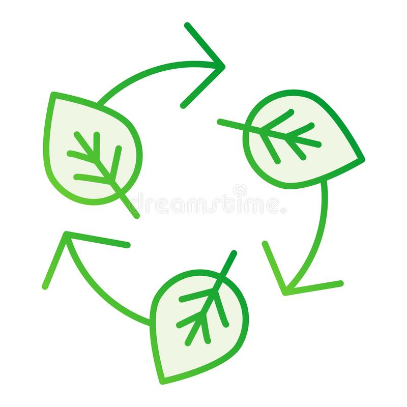 Leaves and recycle sign flat icon. Ecology gray icons in trendy flat style. Nature recycling gradient style design stock illustration