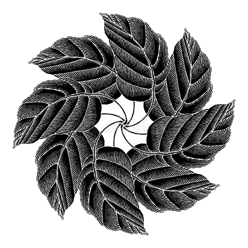 Download Leaves Rosette Black Original Woodcut Royalty Free Stock Image - Image: 19433956