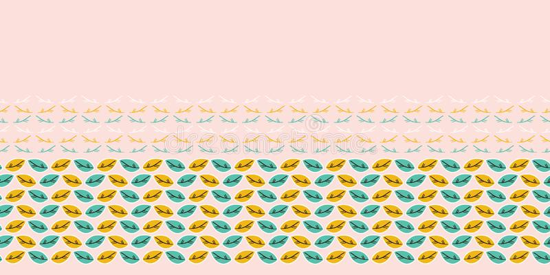 Fall leaves seamless border pattern. Stylized retro edging. Pretty modern feminine nature fashion band. Trendy. Leaves seamless border pattern. Stylized retro vector illustration