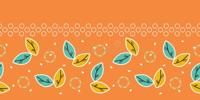 Fall leaves seamless border pattern. Stylized retro floral stems edging. Pretty modern feminine fashion band. Trendy scrapbooking. Leaves seamless border pattern vector illustration