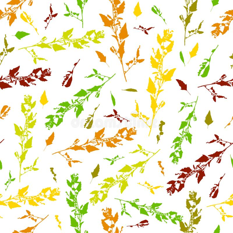 Leaves seamless pattern background. Template for a business card, banner, poster, notebook, invitation with modern hand. Drawn leaves. Vector illustration for royalty free illustration