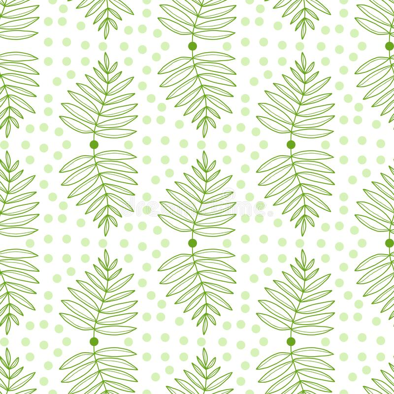 Leaves seamless pattern. Nature repeat background. Tropical green leaves pattern. Summer print for textile and wallpaper stock illustration
