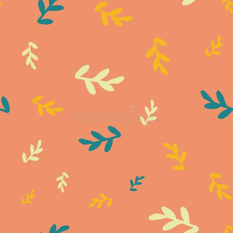 Leaves seamless repeat pattern background. Perfect for kids rooms and textile design royalty free illustration