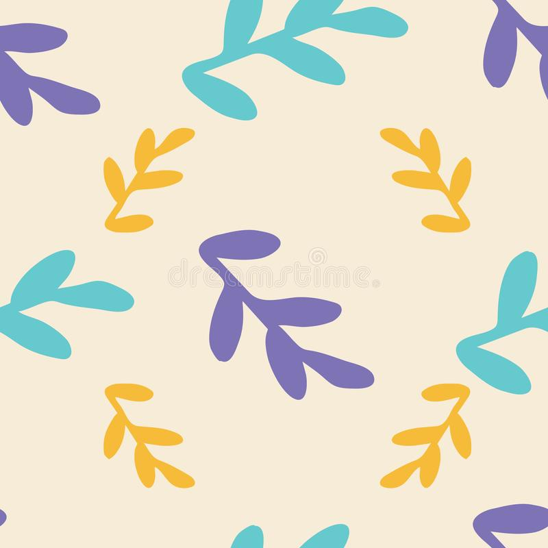 Leaves seamless repeat pattern background stock illustration