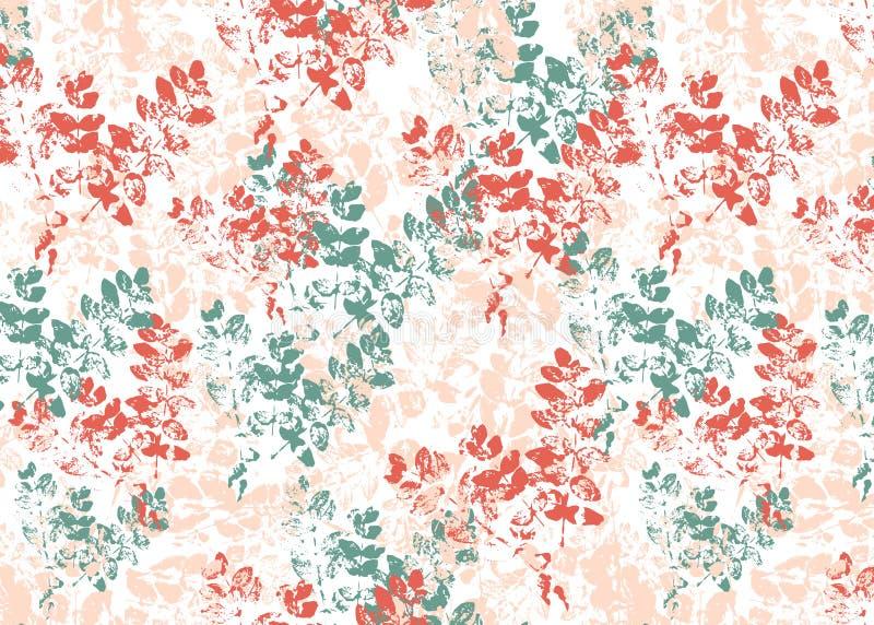 Leaves stamp background. Bright floral pattern.  stock illustration