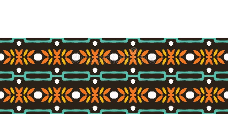 Autumn leaves stripes seamless border pattern. Stylized retro floral stems ribbon trim. 1960s fall autumn fashion edging. Leaves stripes seamless border pattern vector illustration