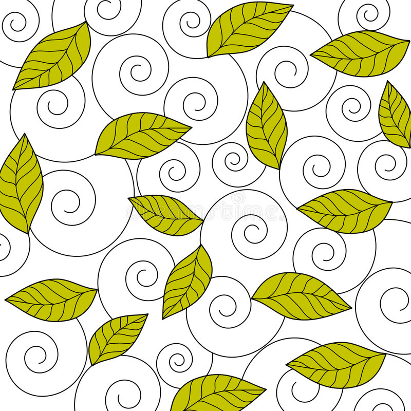 Leaves and swirls vector illustration