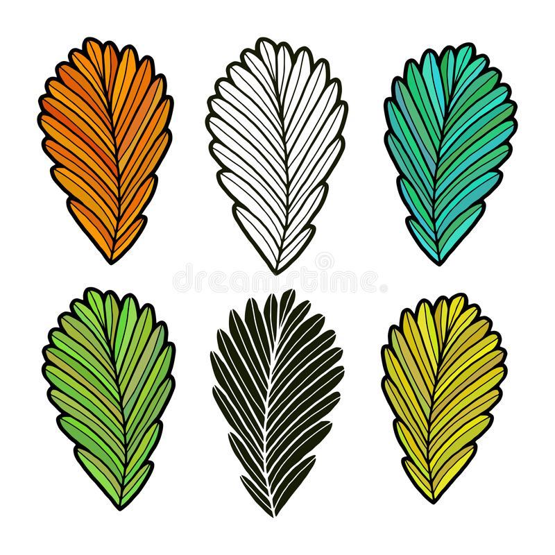 Leaves vector illustration. Autumn leaves collection. Isolated fall set. royalty free illustration