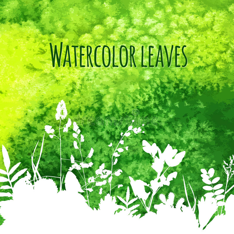 Leaves on watercolor background stock illustration