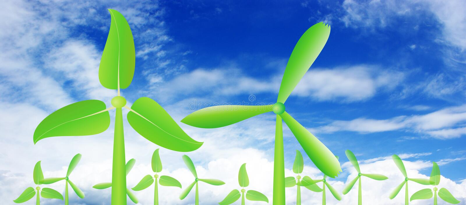 Leaves wind power stock photo
