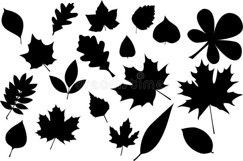 leavessilhouette royaltyfri illustrationer