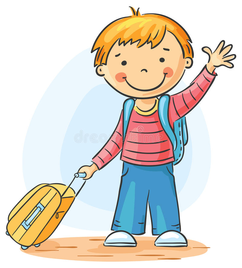 Leaving. Child with a suitcase and backpack is leaving and waving goodbye