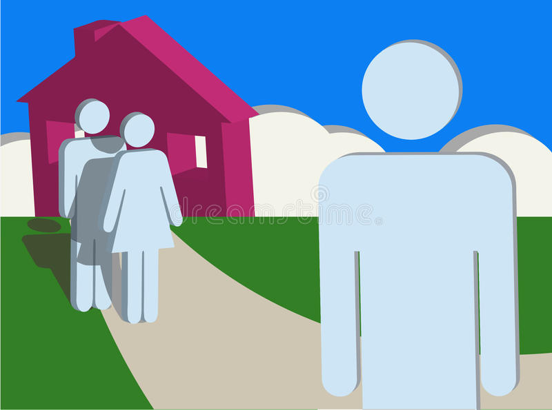 Leaving Home - Independence. Concerned couple watches their son leave home royalty free illustration