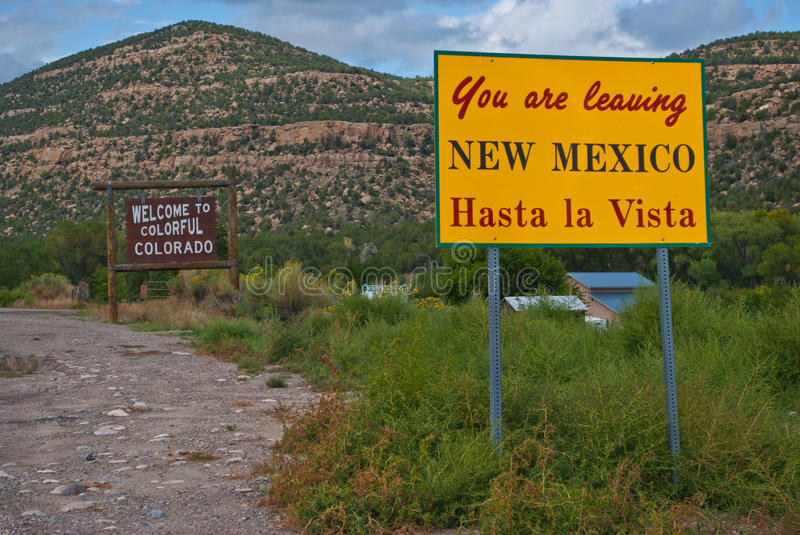 Leaving New Mexico Welcome Colorful Colorado Sign royalty free stock photos